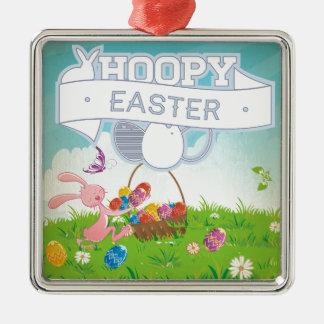 Hoppy Easter Square Metal Christmas Ornament