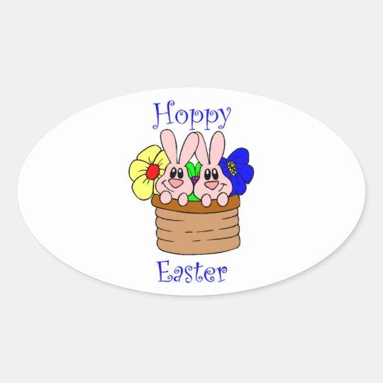 Hoppy Easter Oval Sticker