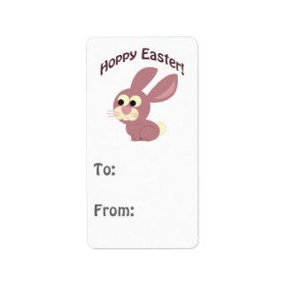 Hoppy Easter Pink Bunny Label