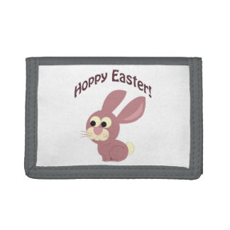 Hoppy Easter Pink Bunny Tri-fold Wallet