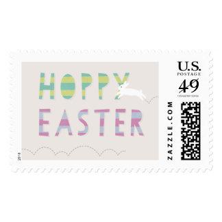 Hoppy Easter Postage Stamp - Lime