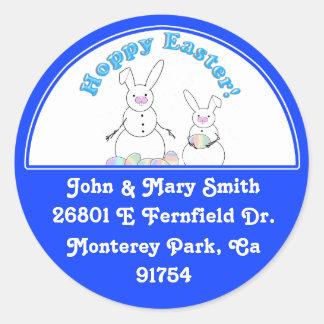 Hoppy Easter Snow Bunnies (Blue Text) Sticker