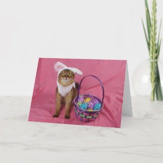 Hoppy Easter Somali Cat Holiday Card