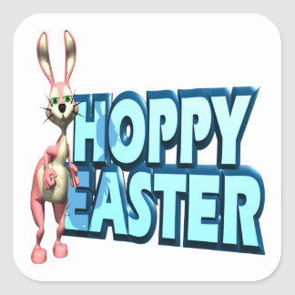 Hoppy Easter Square Stickers