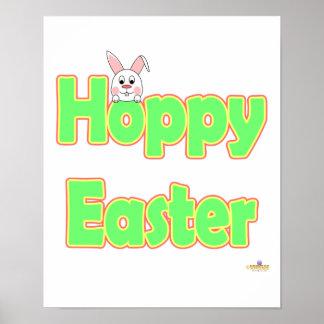 Hoppy Easter White Bunny Posters