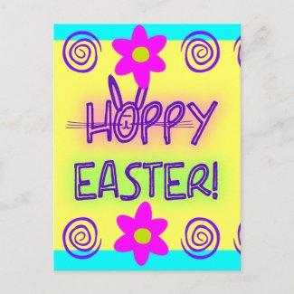 Hoppy Easter With Bunny Face & Ears postcard