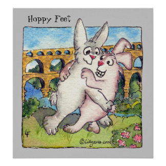 Hoppy Feet Cartoon Rabbits Poster Print