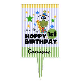 Hoppy Frog 1st Birthday Cake Topper
