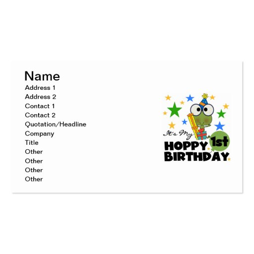 Hoppy Frog 1st Birthday T shirts and Gifts Double-Sided Standard Business Cards (Pack Of 100)
