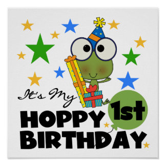 Hoppy Frog 1st Birthday T shirts and Gifts Poster