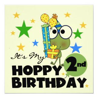 Hoppy Frog 2nd Birthday T-shirts and Gifts Card
