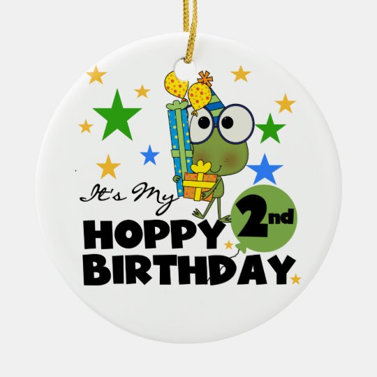 Hoppy Frog 2nd Birthday T-shirts and Gifts Ceramic Ornament