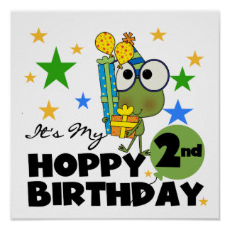 Hoppy Frog 2nd Birthday T-shirts and Gifts Posters