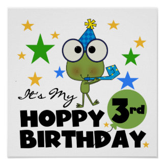 Hoppy Frog 3rd Birthday Tshirts and Gifts Posters