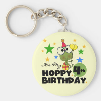 Hoppy Frog 4th Birthday T-shirts and Gifts Basic Round Button Keychain