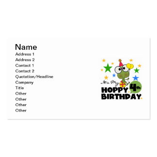 Hoppy Frog 4th Birthday T-shirts and Gifts Business Card Template