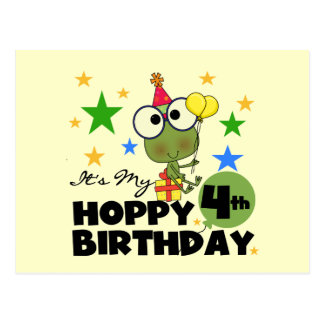 Hoppy Frog 4th Birthday T-shirts and Gifts Postcard