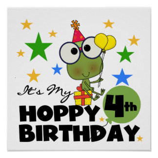 Hoppy Frog 4th Birthday T-shirts and Gifts Print