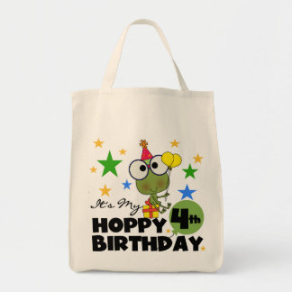 Hoppy Frog 4th Birthday T-shirts and Gifts Tote Bag
