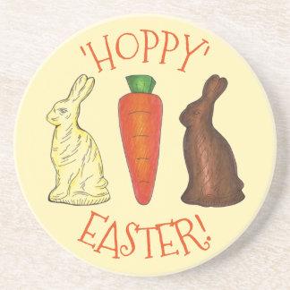 Hoppy Happy Easter Chocolate Bunny Rabbit Carrot Sandstone Coaster