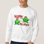 Hoppy Holidays Cartoon Green Frogs Shirt Red Text