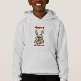 Hoppy Holidays Cute Cartoon Bunny Rabbit Christmas Hoodie
