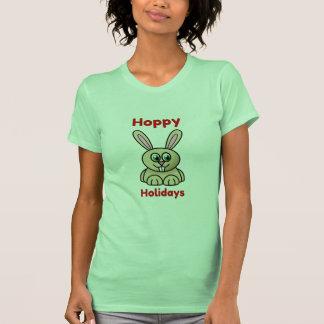Hoppy Holidays Cute Cartoon Bunny Rabbit Christmas Tshirt