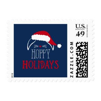 Hoppy Holidays Rabbit Christmas Postage Stamp