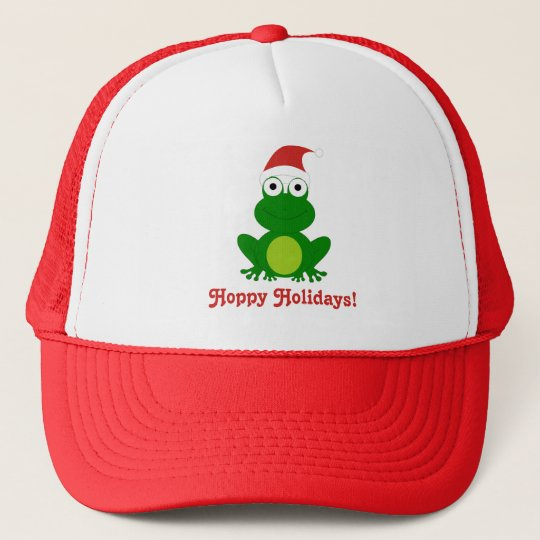 Hoppy Holidays Santa Frog Trucker Hat