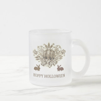 HOPPY HOLLOWEEN VINTAGE BEER KEG AND RABBIT PRINT FROSTED GLASS COFFEE MUG