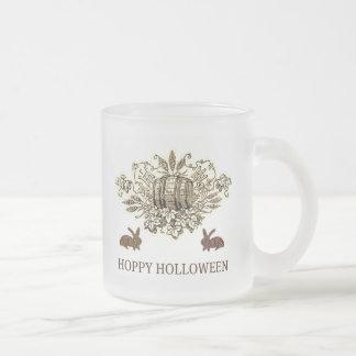 HOPPY HOLLOWEEN VINTAGE BEER KEG AND RABBIT PRINT COFFEE MUG