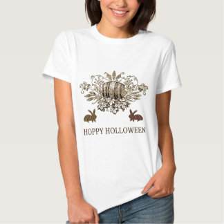 HOPPY HOLLOWEEN VINTAGE BEER KEG AND RABBIT PRINT SHIRTS