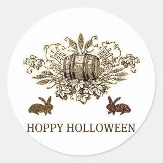HOPPY HOLLOWEEN VINTAGE BEER KEG AND RABBIT PRINT ROUND STICKERS