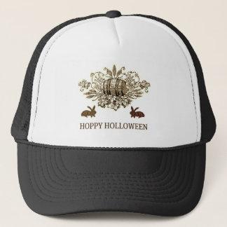 HOPPY HOLLOWEEN VINTAGE BEER KEG AND RABBIT PRINT TRUCKER HAT