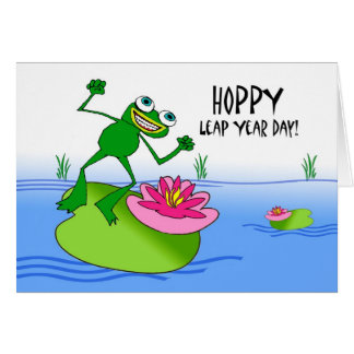 Hoppy Leap Year, Funny Frog at Pond Card
