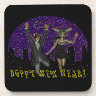 Hoppy Mew Year Cork Coaster