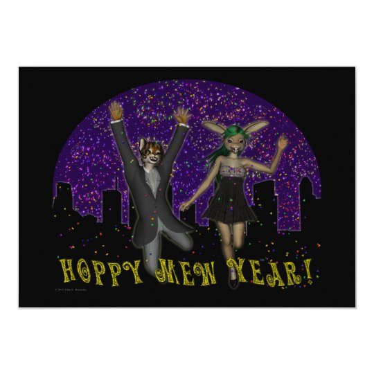 Hoppy Mew Year Invitation