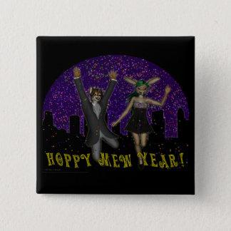 Hoppy Mew Year Square Button