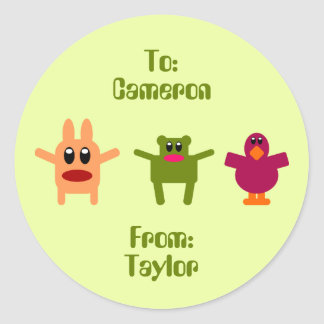 Hoppy Monsters Green Gift Tag Cameron Taylor Classic Round Sticker