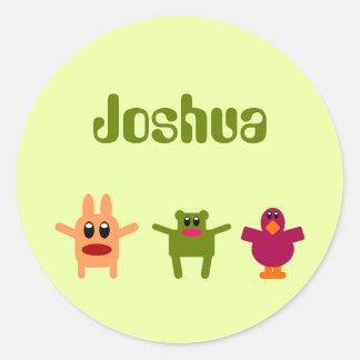 Hoppy Monsters Green Name Sticker / Label Joshua