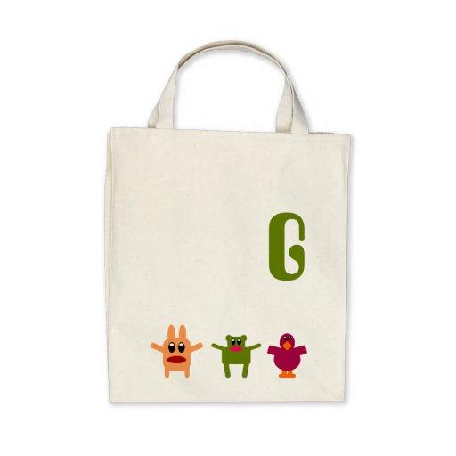 Hoppy Monsters Monogram Grocery Tote Bag G