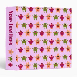 Hoppy Monsters Pattern Binder Pink