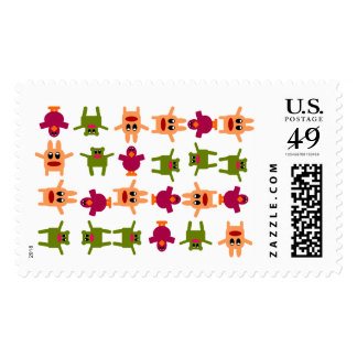 Hoppy Monsters Pattern US Postage Stamp