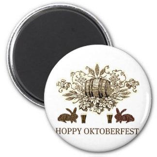 HOPPY OKTOBERFEST BEER KEG, BUNNY HOPS AND BIER 2 INCH ROUND MAGNET