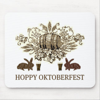 HOPPY OKTOBERFEST BEER KEG, BUNNY HOPS AND BIER MOUSE PAD