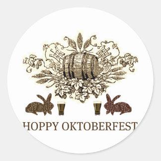 HOPPY OKTOBERFEST BEER KEG, BUNNY HOPS AND BIER ROUND STICKER