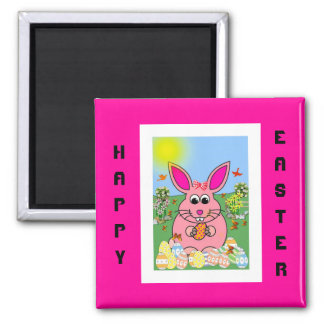 Hoppy Pink Bunny Day 2 Inch Square Magnet