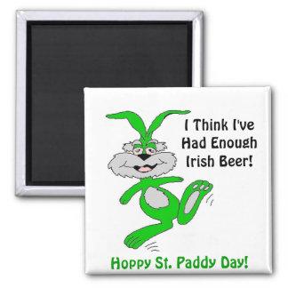 Hoppy St. Patrick's Day! - Designer Square Magnet