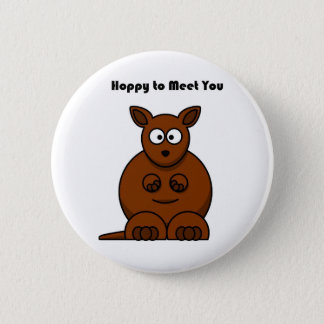 Hoppy to Meet You Kangaroo Cartoon Button