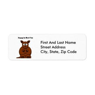 Hoppy to Meet You Kangaroo Cartoon Label